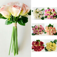 1 Bunch 9 Heads Artifical Silk Rose Flower Bouquet Wedding Party Christmas Decor