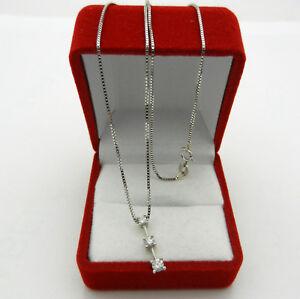"14k White Gold 3-stone Round Cut Diamond 0.30 tcw Pendant Necklace 16"""