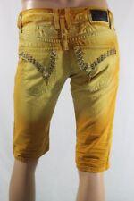 New Men's Robin's Jean Long Flap Citrine Swarivski Gold Studs Shorts SZ 30