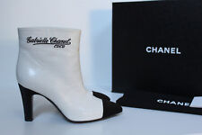 New sz 7.5 / 38 CHANEL White Leather Pointed Cap Toe Slip on CC Ankle Boot Shoes