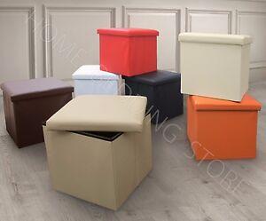 Single One Seater Ottoman Storage Box Foot Stool Foldable Leather Corduroy Linen