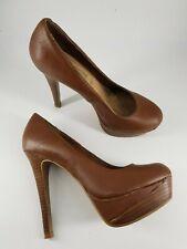 New Look size 4 (37) brown faux leather platform stiletto court shoes