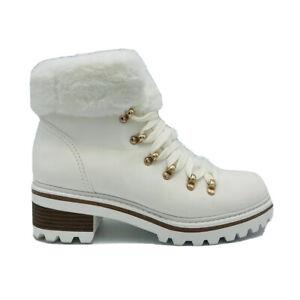 Bamboo Boots Edison-05 Women's Sz 8 White Faux Fur Military Style