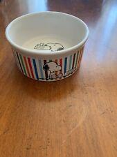 Peanuts Stripe Dog Bowl Snoopy Holding Empty Food Dish Gibson Ceramic Small