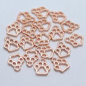 60pcs Alloy Rose Gold Hollow Dog Cat Paw Print Charms Pendants 11x13mm