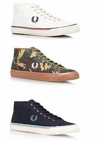 Fred Perry Men's Kendrick Mid Canvas White Olive Camo Blue Trainers - All Sizes