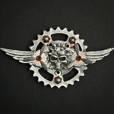 WINGED SKULL STEAMPUNK ALTERED ART SKY CAPTAIN PEWTER CONCHO BIKER PIN