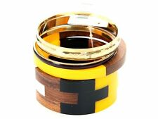 Women's Fashion Geometric Wood & Resin Bangles Bracelet Set Yellow Brown