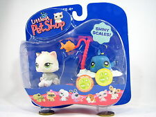 BNIB LITTLEST PET SHOP CAT AND FISH WITH ICE AND FISHING ROD #327 & #328