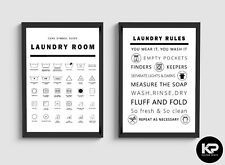 Laundry Room Rules Print Care Symbol Guide Wash Poster Wall Picture Decor Art