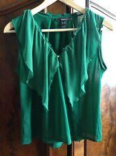 *Bluse mit Volants aus Seide und Drapierungen von Mango, grün, Größe XS*