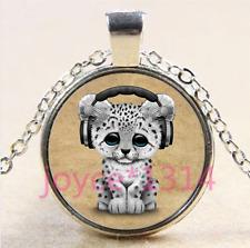 Vintage Snow Leopard Cabochon Tibetan silver Glass Chain Pendant Necklace #4327