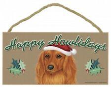 "Dachshund, Long Hair-Happy Howlidays-Dog Decorative Wood Plaque/Sign 5"" x 10"""