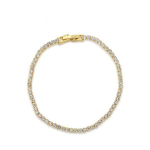 2MM Classical Round Genuine White Topaz 18K Yellow Gold Plated Chain Bracelets