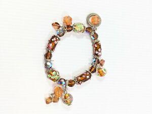 Artisan Brown Glass Lampwork Flower Bead Charm Stretch Bracelet Silver Tone AB