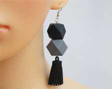 Long Drop Tassel Earrings Grey Black Big Large Wood Suede Cube Dangle Geometric