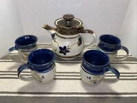 Vintage Handmade Pottery Coffee / Tea Pitcher & 4 Mugs Brown Blue Floral Glazed