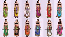 5 PC Wholesale Lot Indian Cotton African Dashiki Tribal Waist Skaters Long Skirt