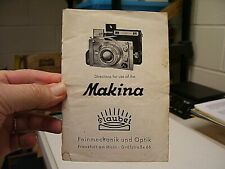 Plaubel Makina Film Camera Operating Instructions Booklet 24 pages