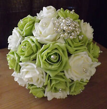 Wedding bouquet Ivory&Lime green roses,pearls,vintage pearl/diamante brooch