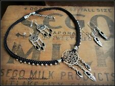 Native American inspired Dream Catcher earring and necklace set in black