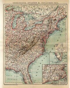 1897 USA AMERICA EAST COAST STATES NEW YORK GEORGIA VIRGINIA FLORIDA Antique Map