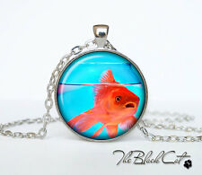Gold fish Necklace Fish photo Tibet silver Cabochon glass pendant chain Necklace
