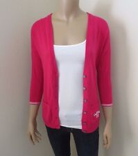 Hollister Womens V-Neck Cardigan Size XS Sweater Top Shirt Hot Pink Sweatshirt