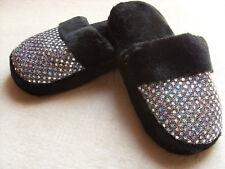 Kuschelige Hausschuhe, Pantoffeln, Größe 37 (4), Schwarz mit Glitter *NEU*