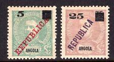ANGOLA Stamp Lot #7: Scott #114, 117, 1912, MH OG, Value Overprints
