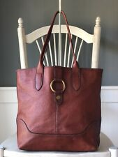 FRYE Ring Tote Cognac Vegetable Tanned Leather Shoulder Handbag Carryall Purse