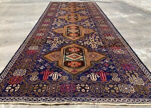 Authentic Hand Knotted Vintage Zaidan Balouch Wool Area Runner 10 x 4 Ft
