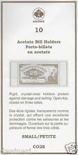 """TEN Acetate Crystal Clear SMALL Bill Holders 2½""""x6"""" Fractional Currency Sleeves"""