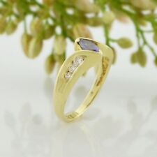 14k Yellow Gold Estate Gemstone & Diamond Band/Ring Size 4.25