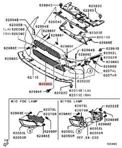 GRIGLIA CENTRALE PARAURTI ANTERIORE MITSUBISHI LANCER EVOLUTION X 10 6402A110