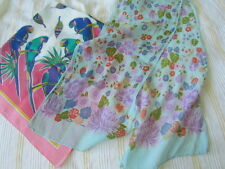 Vintage Silk Scarf Lot Floral Birds Parrots Abstract Cotton Aqua Lilac pink Purp