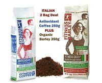 2 Italian Organic FITNESS BARLEY® Caffeine Free + Antioxidant Ground Coffee Deal