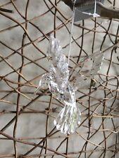 Gisela Graham Christmas clear acrylic hummingbird tree decoration 10cm