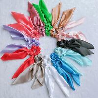 FP- KQ_ Women Hair Rope Ribbon Ponytail Holder Bow Tie Scrunchies Elastic Band