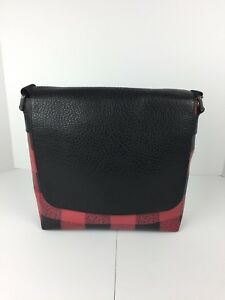 COACH F31558 Charles Small Messenger Bag Men's Coated Canvas Red Black Plaid NWT