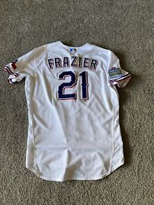 Todd Frazier Inaugural Season Nike Texas Rangers Game Issued Shows Use Jersey