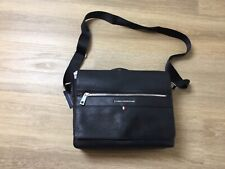 Mens tommy hilfiger synthetic Leather Day Messenger laptop Bag Black NWT