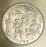 """1969 Bacchus """"The Best Things in Life""""  Silver New Orleans Mardi Gras Doubloon"""