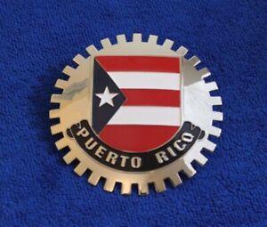 Flag of Puerto Rico Grille Badge Bumper License Topper Accessory Bumper Bar