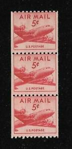 MNH 1948 US 5c Airmail Scott# C37 USA Stamps Air Mail Coil Strip of 3 CV $3.10