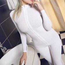 Women Striped Sheer Bodysuit Romper Smooth Fiber 2 Zipper Long Sleeve Jumpsuit