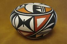 Acoma Indian Pottery Hand Painted Seed Pot by Leon Victorino