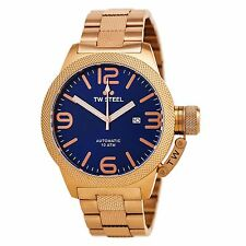 TW Steel Men's CB186 Canteen Automatic 50 mm Blue Dial Rose Gold-Tone Watch