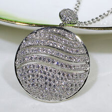 18K White Gold Filled 2.3CT CZ Lady Fashion Jewelry Round Necklace Pendant P2660