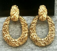 Designer Ciner Brutalist HOOP DOOR KNOCKER Earrings GOLD TONE Nugget clip RUNWAY